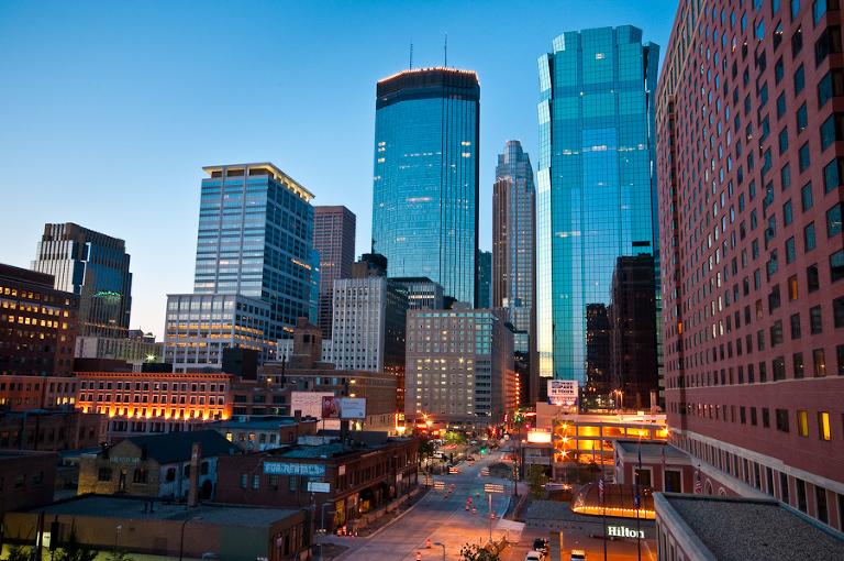 Downtown Minneapolis by the Hilton  |  Downtown Minneapolis Skyline Photos
