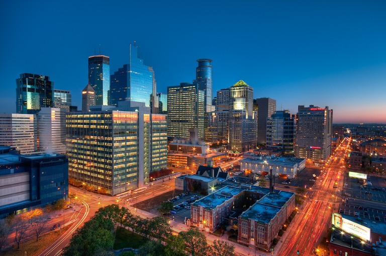 The Early Morning Light on the Downtown Minneapolis Skyline  |  Photos of Minneapolis