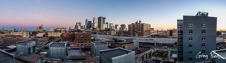 Downtown Minneapolis skyline sunset panorama