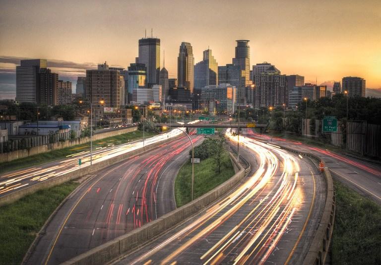 Downtown Minneapolis Skyline with yellow sky