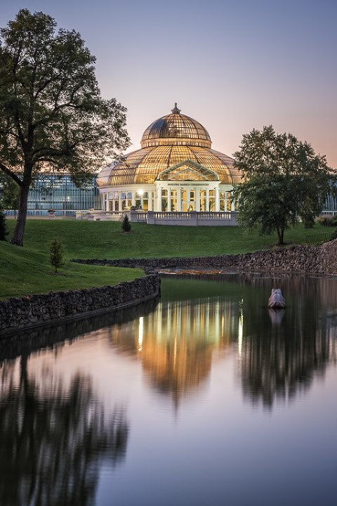 Como Park Conservatory sunset and reflection in frog Mirror Pond