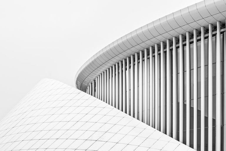 black and white architectural shot of teh Philharmonie in Luxembourg City