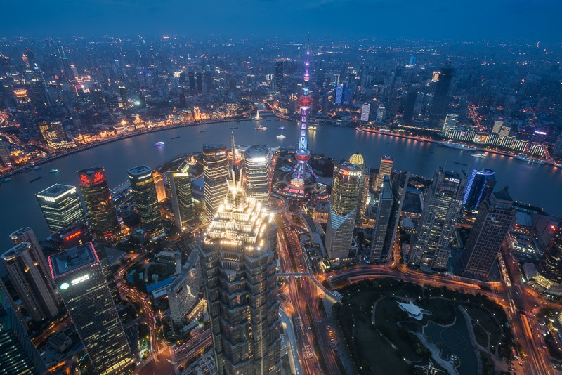 Jin Mao Tower and Pudong Skyscrapers in Shanghai at night