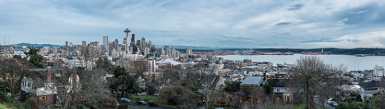 cloudy downtown Seattle skyline from Kerry Park - Queen Anne Hill