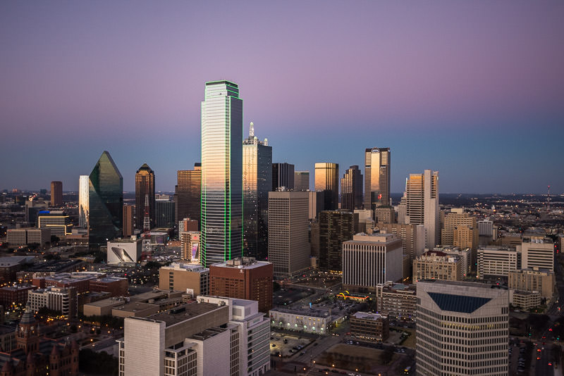 Downtown Dallas and the green Bank of America Plaza building from the Reunion Tower