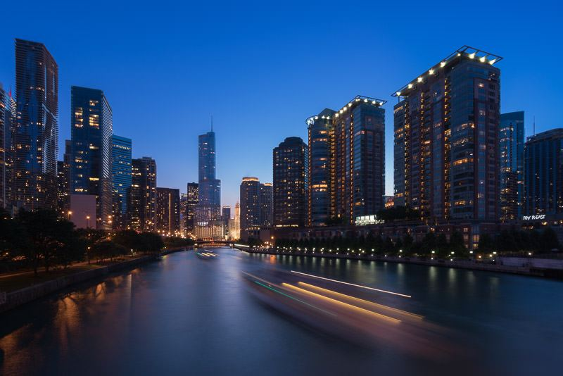 Chicago skyline and river at sunset
