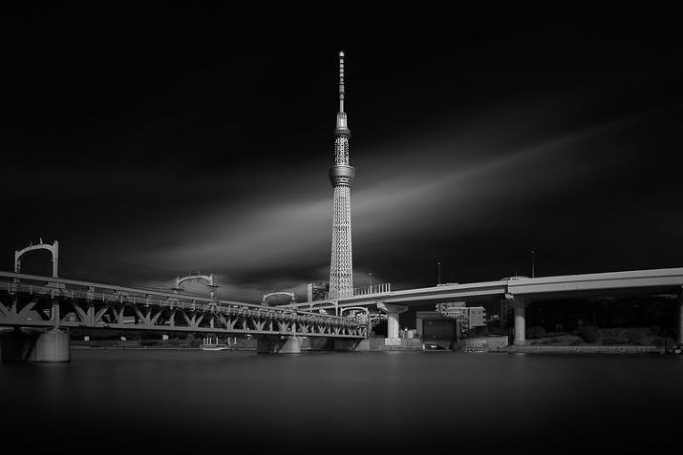 Tokyo Skytree - long exposure black and white