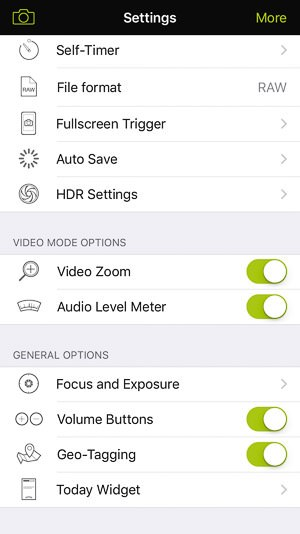 ProCamera iPhone app - Settings