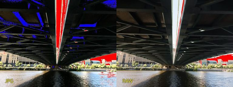 iPhone JPG vs RAW - clipped highlights and shadows