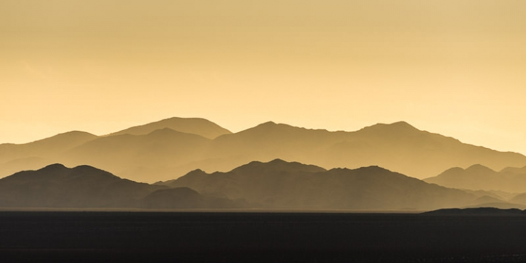 Yellow Sunrise over the Eagle Mountains in Josha Tree National Park