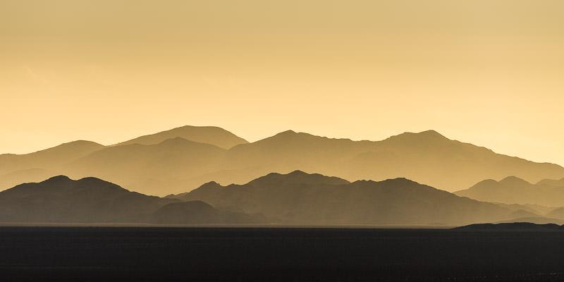 Yellow Sunrise over the Eagle Mountains in Josha Tree National Park