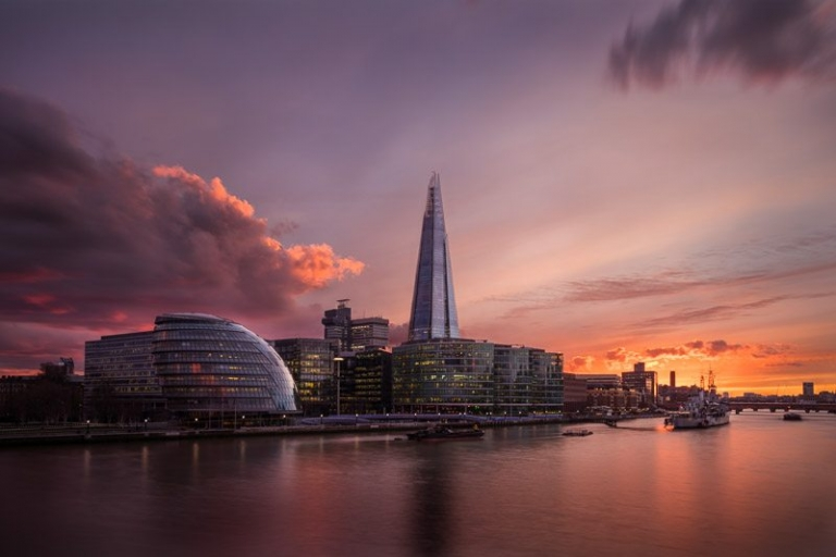 Sunset over London Cityscape (The Shard, City Hall, Thames, Ernst & Young building)