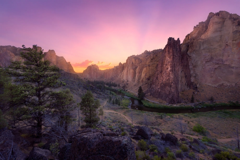A Glowing Sunset Over Smith Rock and the Crooked River, Oregon