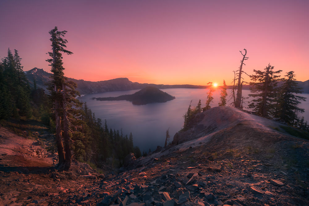 Sunrise Over Wizard Island in Crater Lake National Park, Oregon
