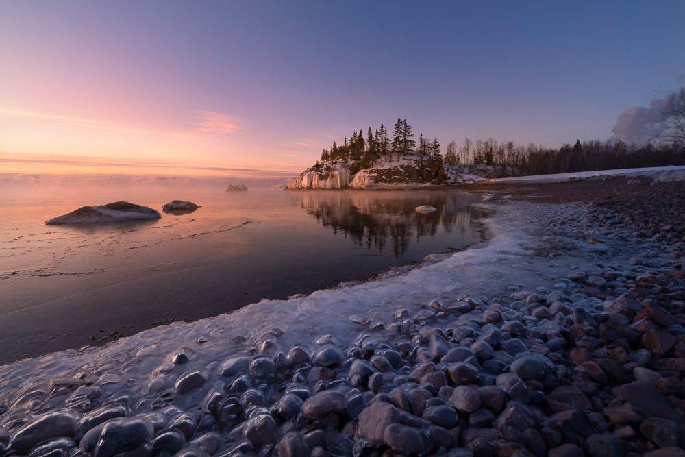 Frozen Lake Superior shoreline